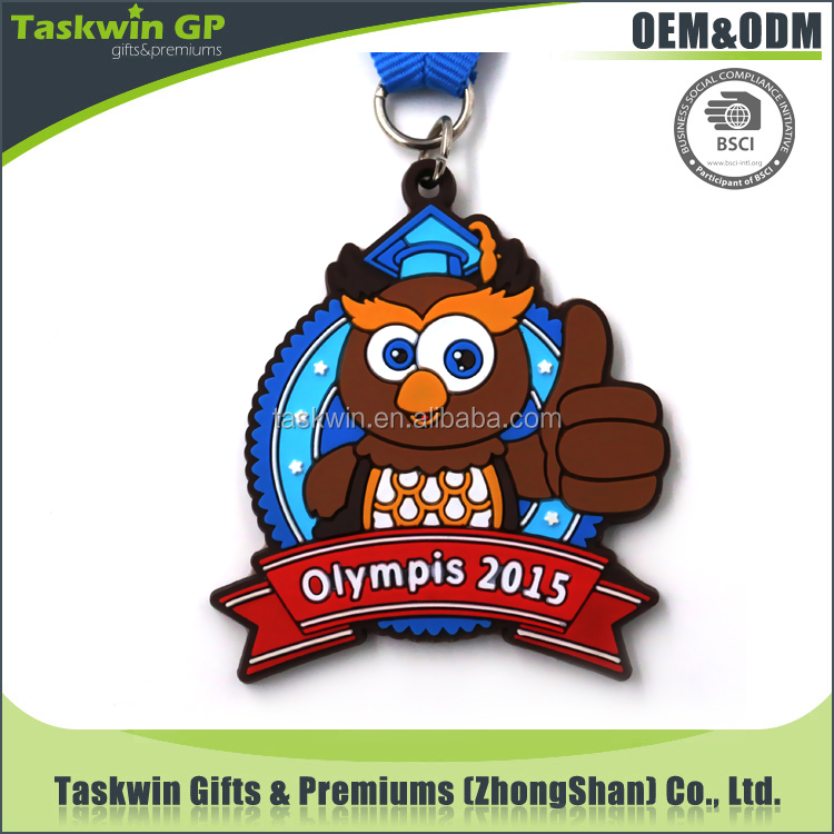Lovely looking cute shape cheap and eco-friendly soft PVC making medal with ribbon