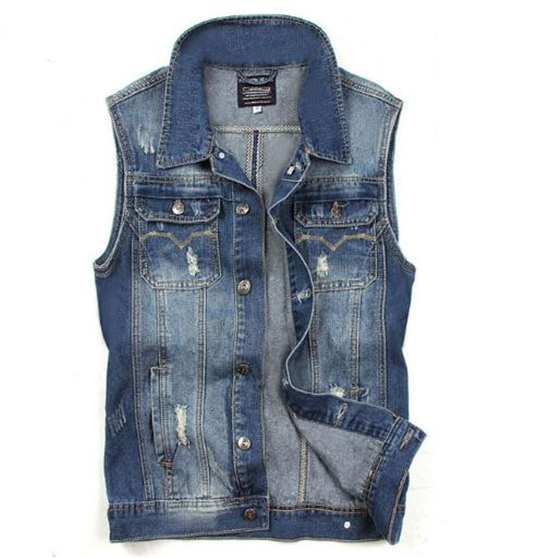 New Men Denim Vest Men Jeans Vest Men Sleeveless Denim Jacket Men Denim Jeans Vest Jacket Vest Sleeveless Waistcoat