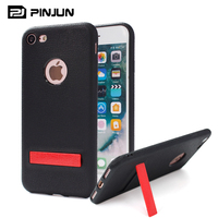 Colorful hard pc stand soft tpu leather pattern case for iphone 7 leather smart kickstand