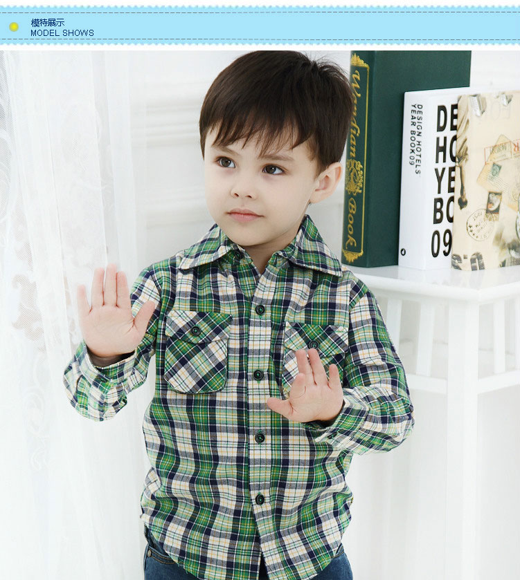 Hot Baru Klasik Kotak Kotak Bayi Laki Laki Fashion Kualitas Penuh Desain Katun Lengan Anak Laki Laki Kemeja Kausal Anak Merek Pakaian Anak Laki Laki