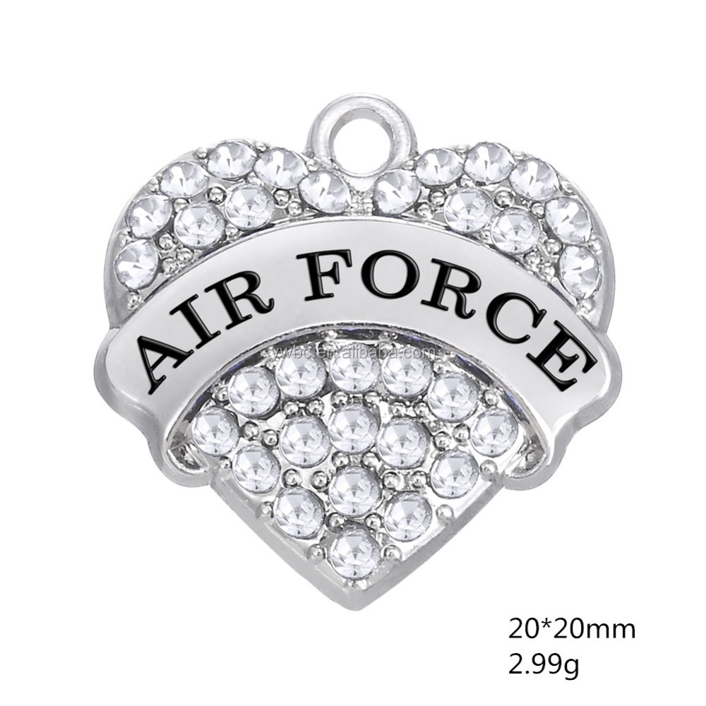 AirForce Blue pink white Crystal Rhinestone Embellished Heart Pendant on an Heart charms Air Force Engraved in the Center