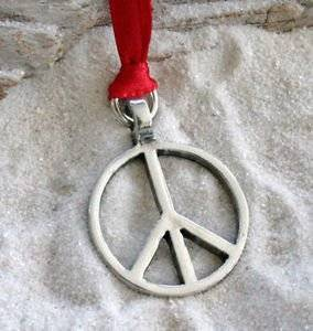 Pewter Classic Peace Sign Love Hippie Christmas Ornament Holiday Decoration