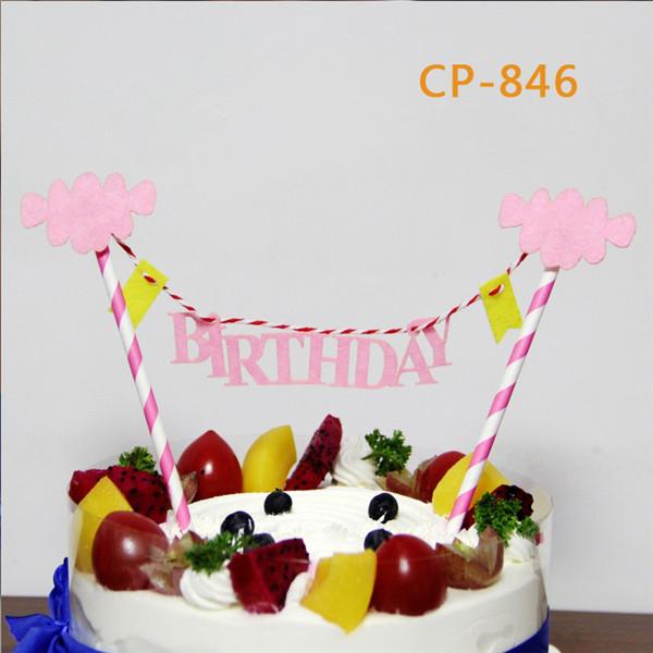 Mini Straw String Banner Happy Birthday Cake Topper Bunting Banner