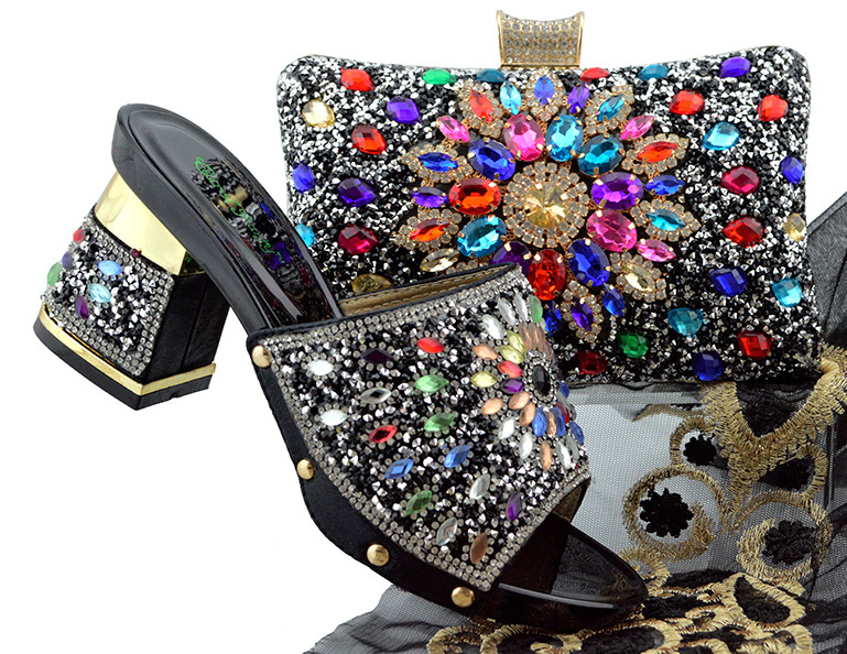 Sales Shoes with Bag To Italian Women Shoes Latest and Shoes Set Rhinestone Bag and Bags Match Set Matching In peach with wPqxgHZ
