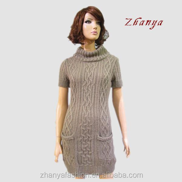 Women Cable Knitting Pattern Sweater Dress - Buy Sweater Dress ...