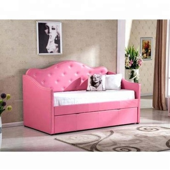 Crystal Tufted Pink Leather Daybed With Trundle Twin Bed Y Indoor Product On Alibaba