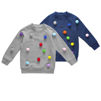 Long Sleeves Embroidered Pom Pom Crewneck Baby Boys Sweater Design