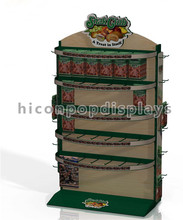 Custom Signage Floorstanding Iron Wood Dry Beef Jerky Retail 4-Way Hanging Snack Display Shelf