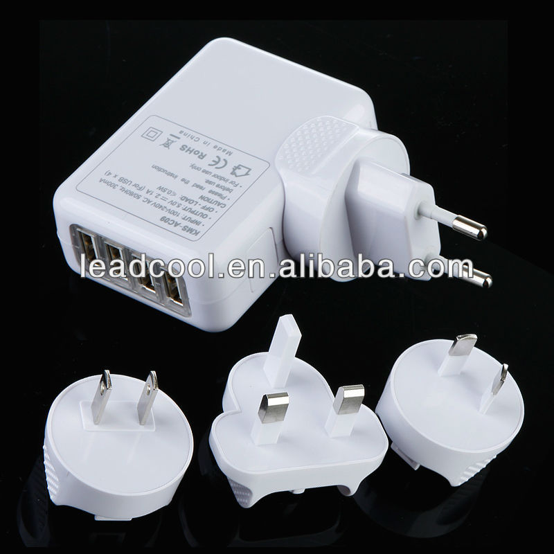 4 USB PORT UK MAINS CHARGER 10W USB AC POWER ADAPTER for SAMSUNG BLACKBERRY HTC LG