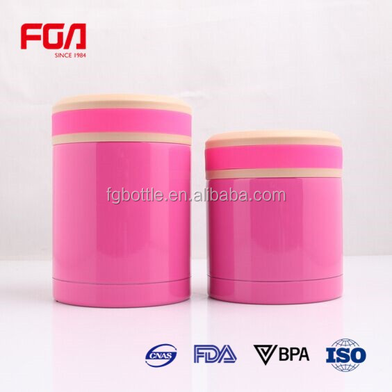 pink color stainless steel insulated lunch boxes braised burn pot