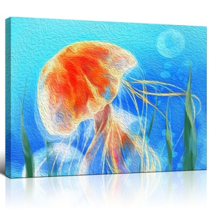 Jellyfish Canvas Wall Art A Jellyfish Under Sea Life Printing Artwork Gallery Wrap Modern Home Decor
