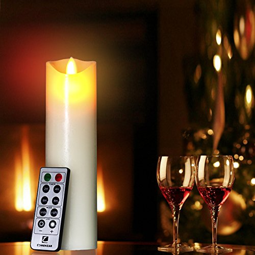 """Flameless Candles- Flickering Flameless Candles LED Candles 6"""" Battery Candles Real Wax Pillar with10-key Remote Control Timer Candle Flameless - 2/4/6/8 Hours Timer comenzar"""