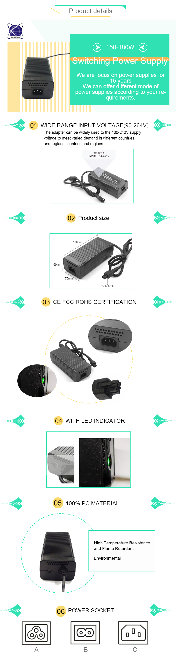 CE FCC Rohs Approved 24V 6.25A Ac Power Supply 150W power adapter