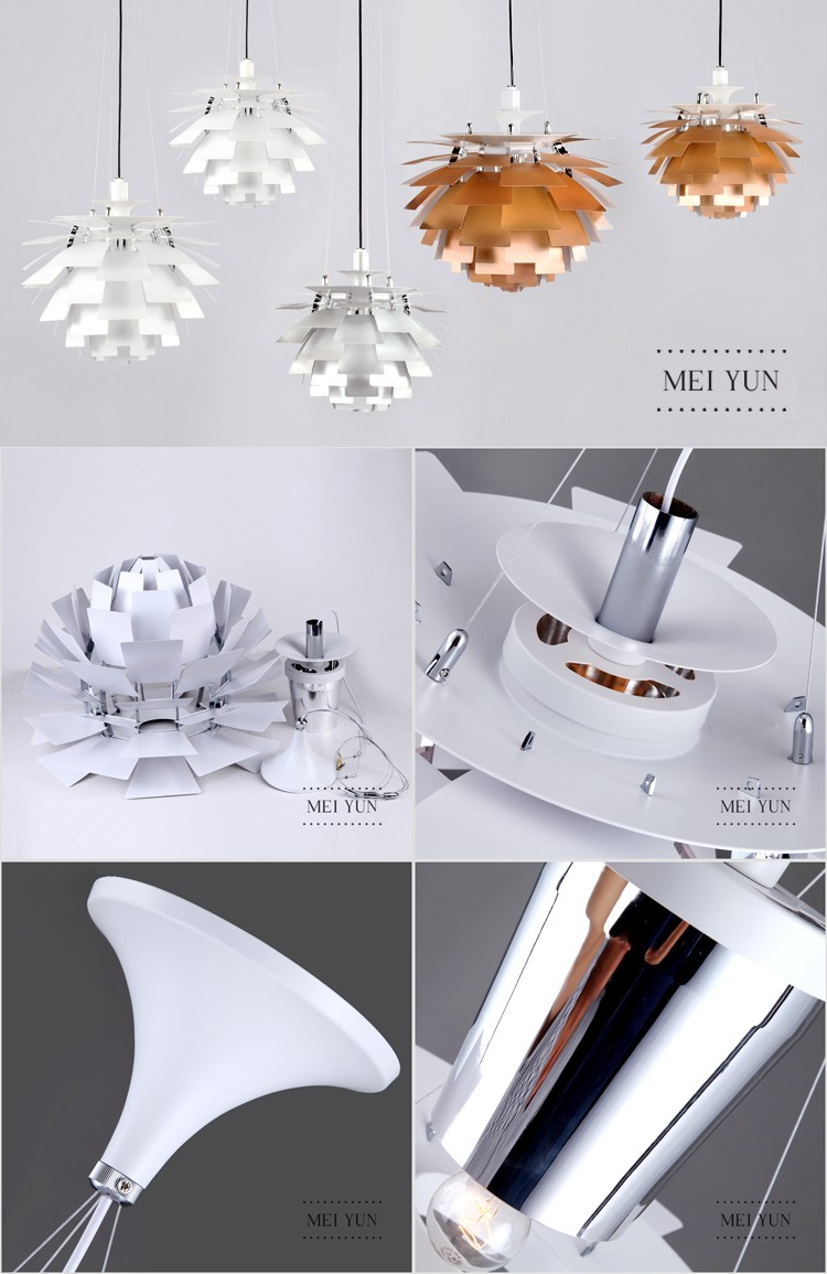 hand-made PH Artichoke aluminium pendant light white color chandelier CE ROSH