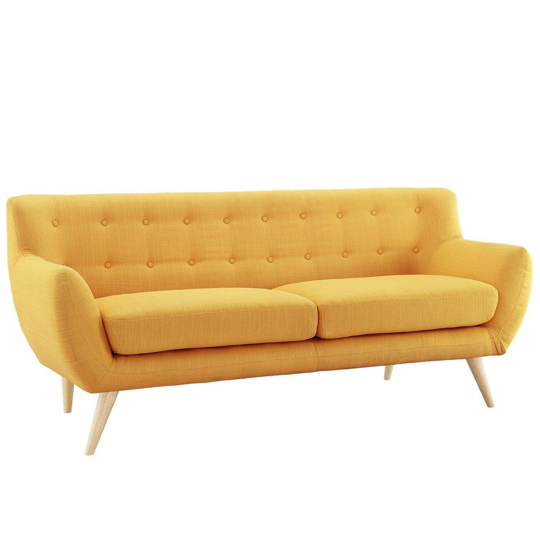 Buy Divano Roma Furniture Mid Century Modern Style Sofa Yellow 3