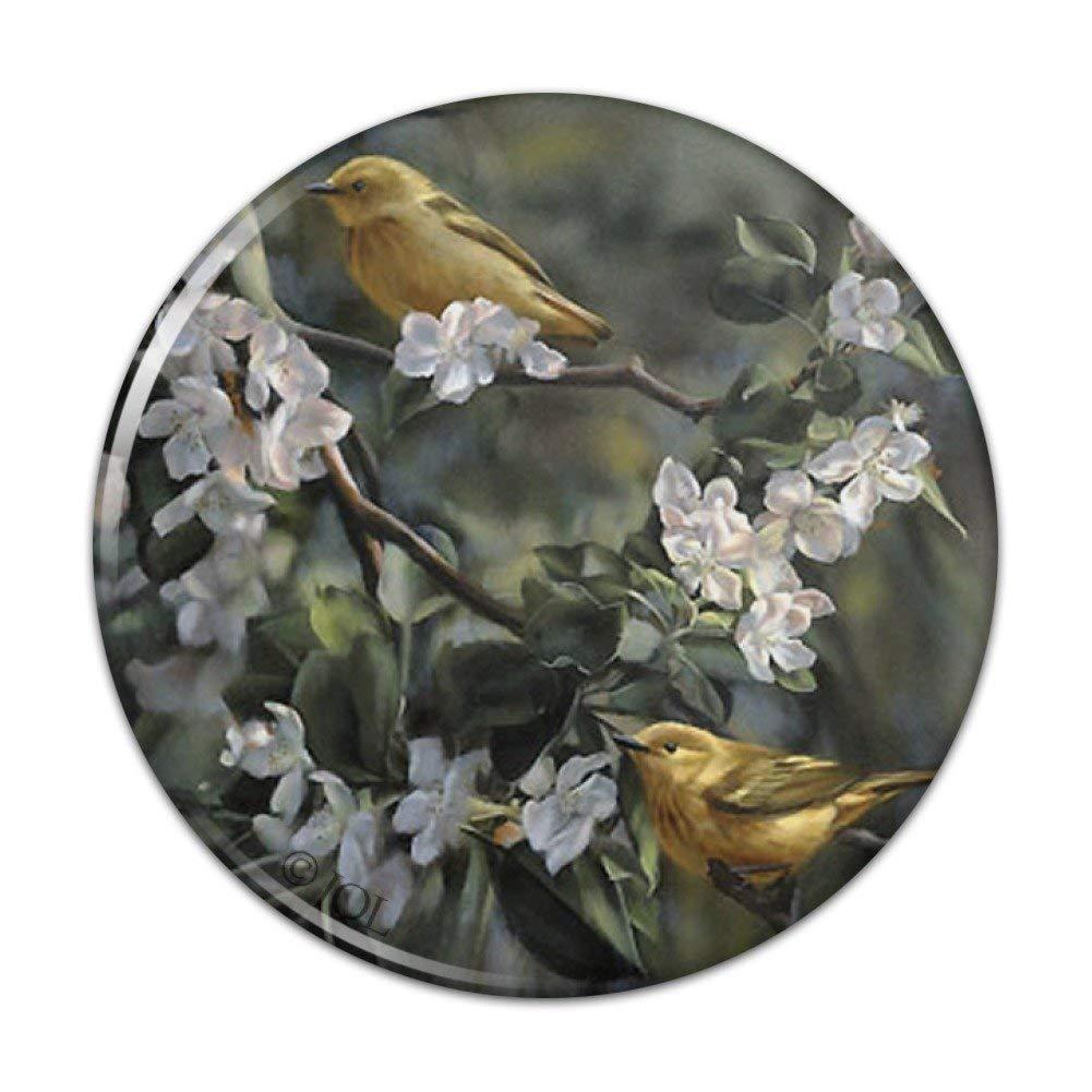 "American Yellow Warblers Birds Compact Pocket Purse Hand Cosmetic Makeup Mirror - 3"" Diameter"