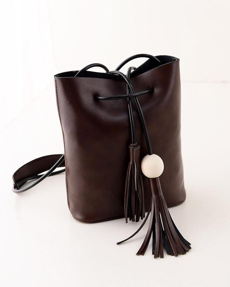 2015 drawstring handbag women leather pu messenger bag high quality black women shoulder bag fashion brand blue tassel handbag