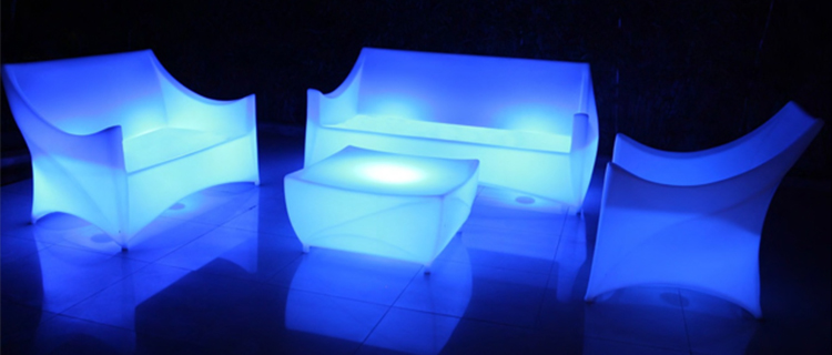 Foshan factory high quality commercial bar waterproof outdoor sectional remote control illuminated lighting led couch