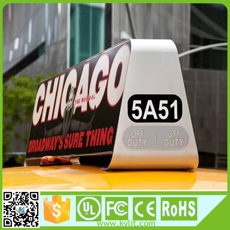 Weatherproof taxi/car top advertasing led display screen signs full color outdoor 3G p5 led taxi top light