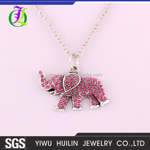A500418 Yiwu Huilin Jewelry channel personalized pink cute elephant pendant fashion handwork jewelry necklace