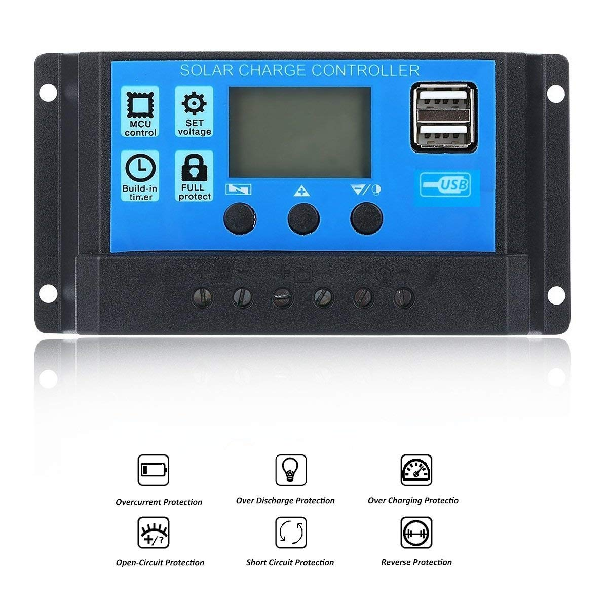 VVHOOY 20A Solar Charger Controller,12V/24V PWM Solar Panel Battery Intelligent Regulator with Dual USB Port LCD Display