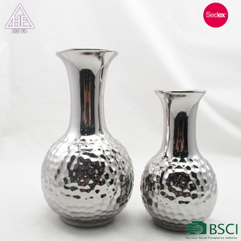Ceramic Flower Mini Vase Silver Plated Titanium Floor Tall Home