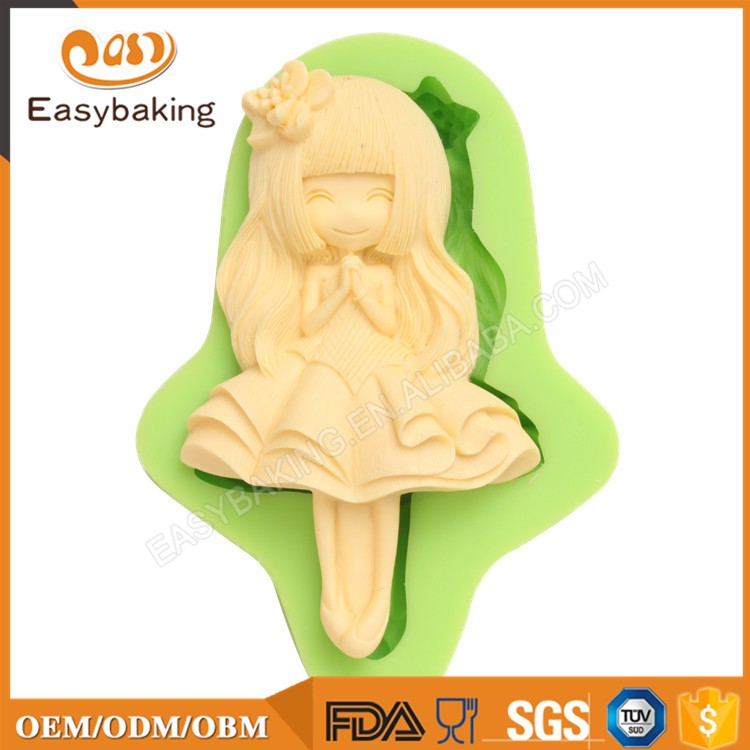 ES-1405-1 Lovely Little girl Silicone Molds for Fondant Cake Decorating