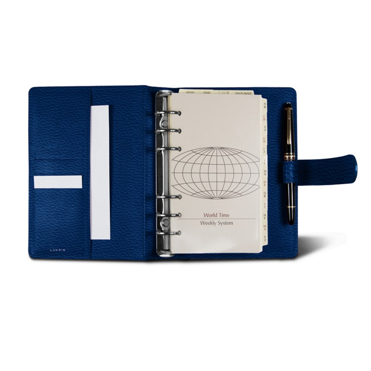 Blue Personal 2018 agenda 6 nickeled rings binder leather diary organizer