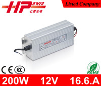 CCC CE RoHS waterproof 200w 17a 12v single output constant voltage ac dc regulated dimmable LED driver