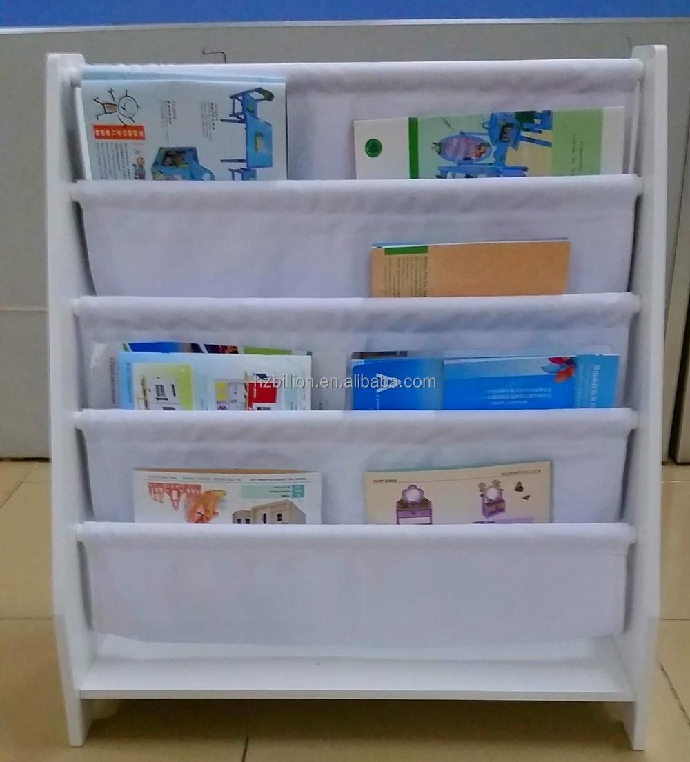 Fashion White 5 Level Tier Wooden Kids Canvas Book Shelf Display Unit