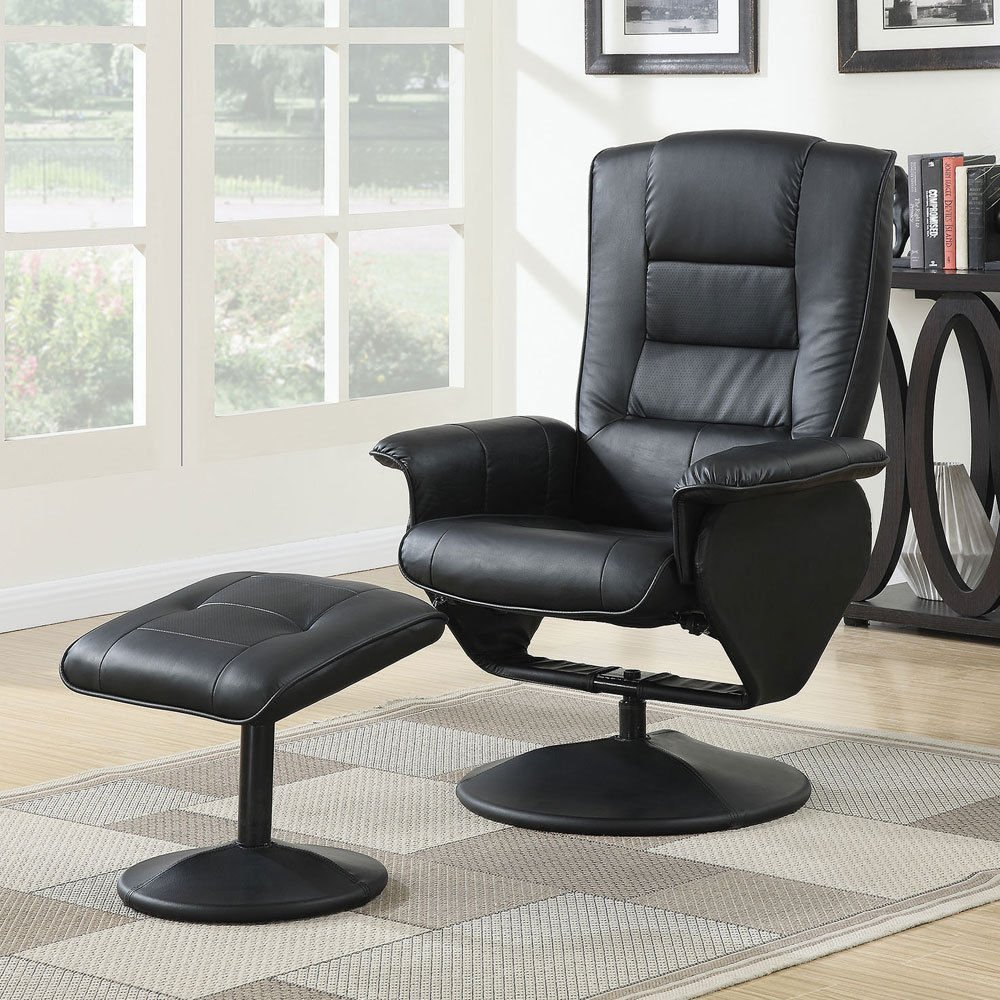 Get Quotations · 1PerfectChoice Arche Living Room Accent Comfort Recliner Chair  Ottoman Black PU Padded Leather