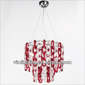 Modern red glass chain chandelier 2618 6 buy chain chandelierred modern red glass chain chandelier 2618 6 mozeypictures Gallery