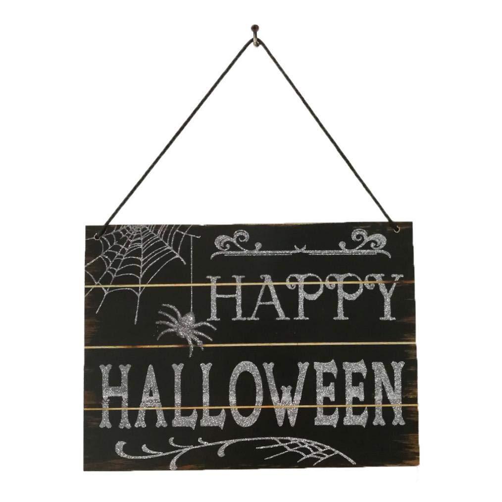 Fheaven (TM) Door HangingDecor - Indoor And Outdoor Wood Fall Halloween Hanging Door Decorations And Happy Halloween Wall Signs (A)