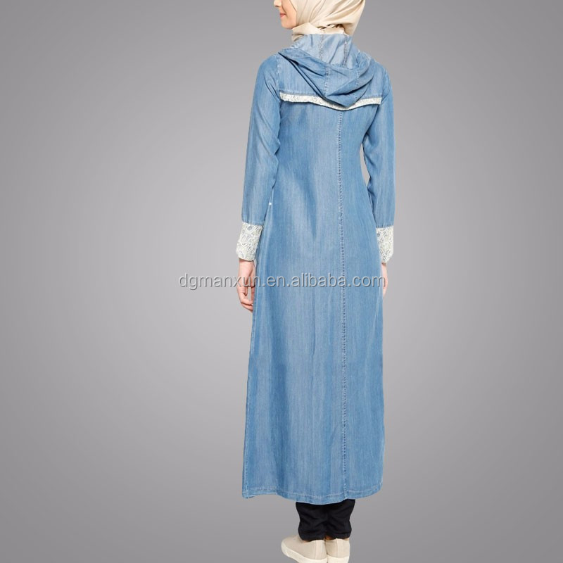 2019 Latest Fashion Zipper Abaya In Islamic Clothing Blue Denim Front Open Abaya For Women