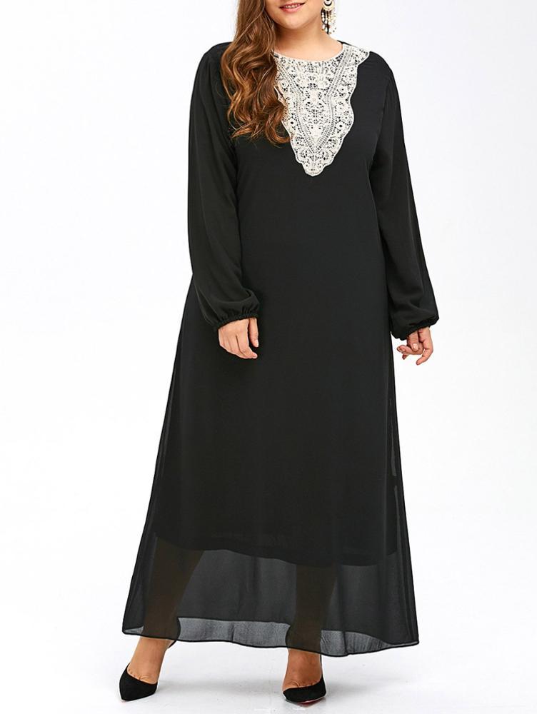7d34da8b42a Islamic Lace Applique Abaya Kaftan Long Sleeve Maxi Dress Plus Size Muslim  Women Clothing For Jubah Muslimah - Buy Muslim Dress