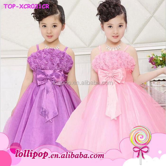 dee084a652a 2016 Fashion girl Beautiful Children flower girl dress pink princess baby  girl wedding dress