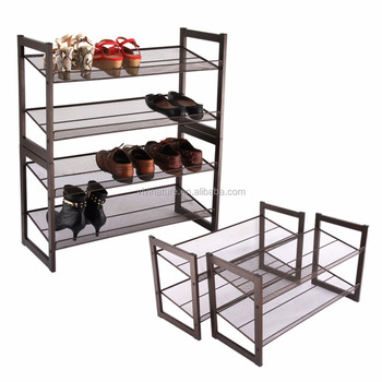 2 Tier Stackable Metal Shoe Rack Flat And Slant Adjustable Shoe Organizer