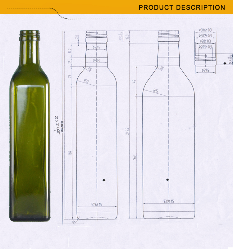 500ml Clear Glass Oil Marasca Bottle Buy Dorica Bottle