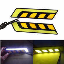 Car dual color white yellow drl led daytime running light with turn signal