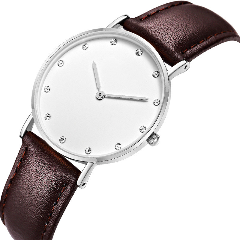 2019 Simple Classic Fashion Woman Watch Custom Logo Brand Leather Stainless steel Lady Watch  two dial