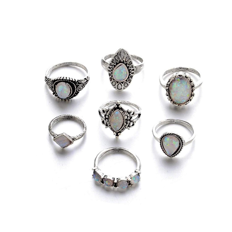 MALLOOM 6/7pcs Rings Set, New Bohemian Vintage Women Alloy Finger Rings Punk Ring Gift