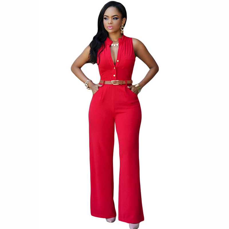Sexy Women Sleeveless Jumpsuit Deep V Neck Crisscross Cutout Back Streetwear Wide Leg Pants 2019 Solid Slim Playsuit Rompers Red And To Have A Long Life. Women's Clothing