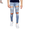 Hot selling men super skinny ripped denim pants china factory custom distressed hole stretch jeans