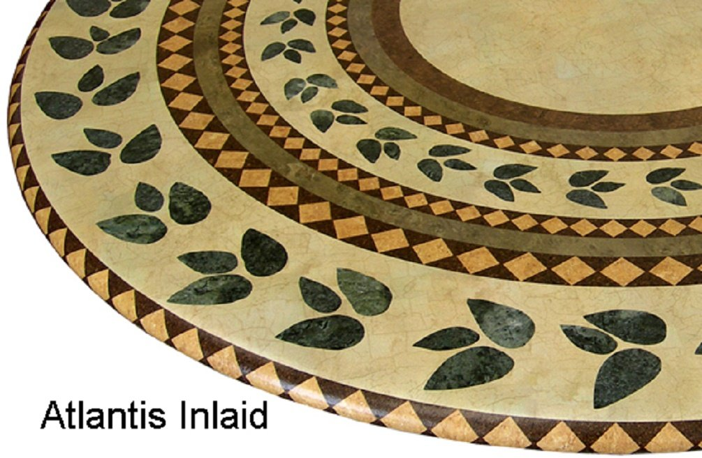 """Mosaic Table Cloth Round 36"""" to 48"""" Elastic Edge Fitted Vinyl Table Cover Inlaid Atlantis Pattern Brown Tan Green"""