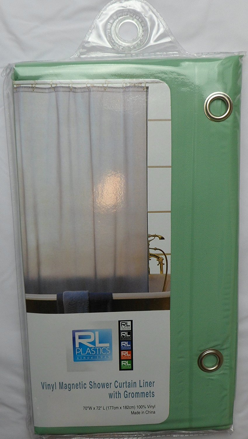 """RL Plastics 100% Vinyl Jade Magnetic Shower Curtain Liner with Grommets, Mildew and Water Resistant Standard Size 70"""" X 72"""""""