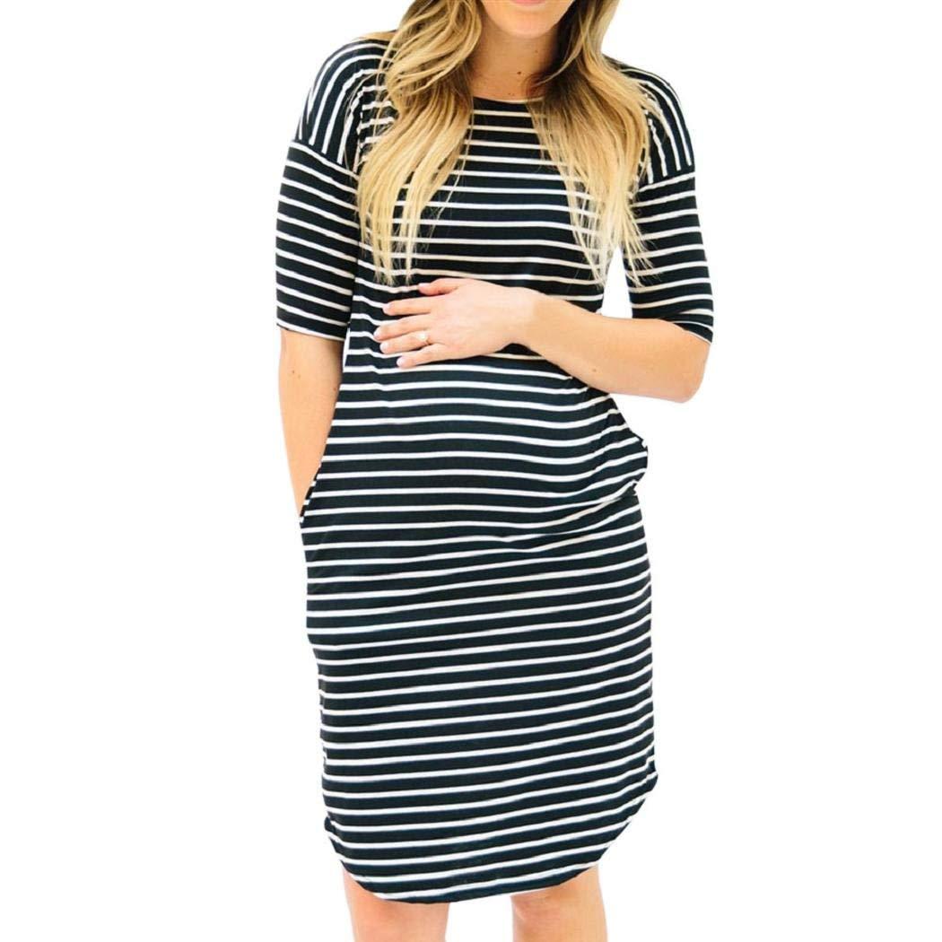 24f21597f5446 Get Quotations · Women Dress ShenPr Summer Short Sleeve Stripe Pregnant  Maternity Knee Length T-Shirt Dress Maternity