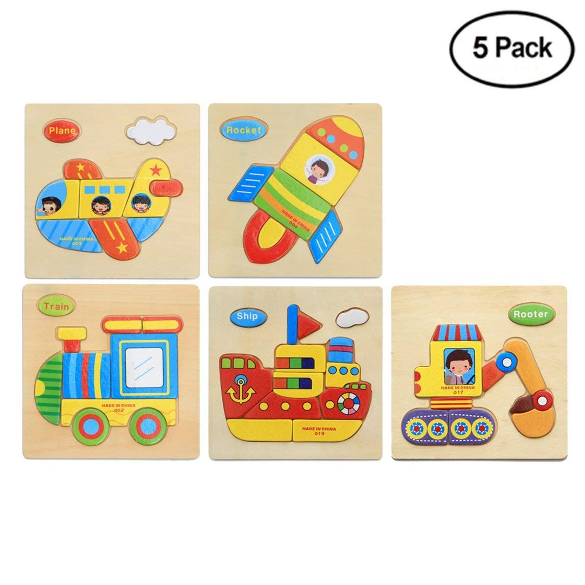 Finduat 5 Pack 3D Wooden Jigsaw Puzzle Toys for Toddlers, Babies Kids Wooden Jigsaw Puzzle Toys – Plane, Rocket, Train, Ship, Rooter (5 Pack)