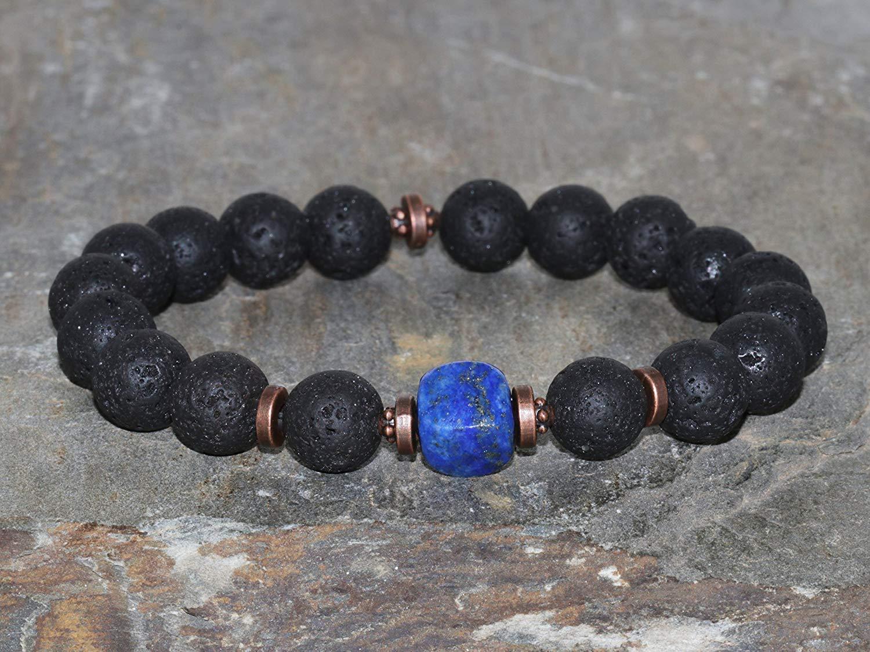 06312eb743 Get Quotations · 10mm Volcanic Lava Stone Lapis Lazuli Bracelet Handmade  Lava Rock Beaded Bracelet Unisex Bracelet Men s Beaded