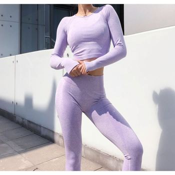 Fashion women yoga gym clothes seamless leggings and crop tops workout sport long sleeves fitness set