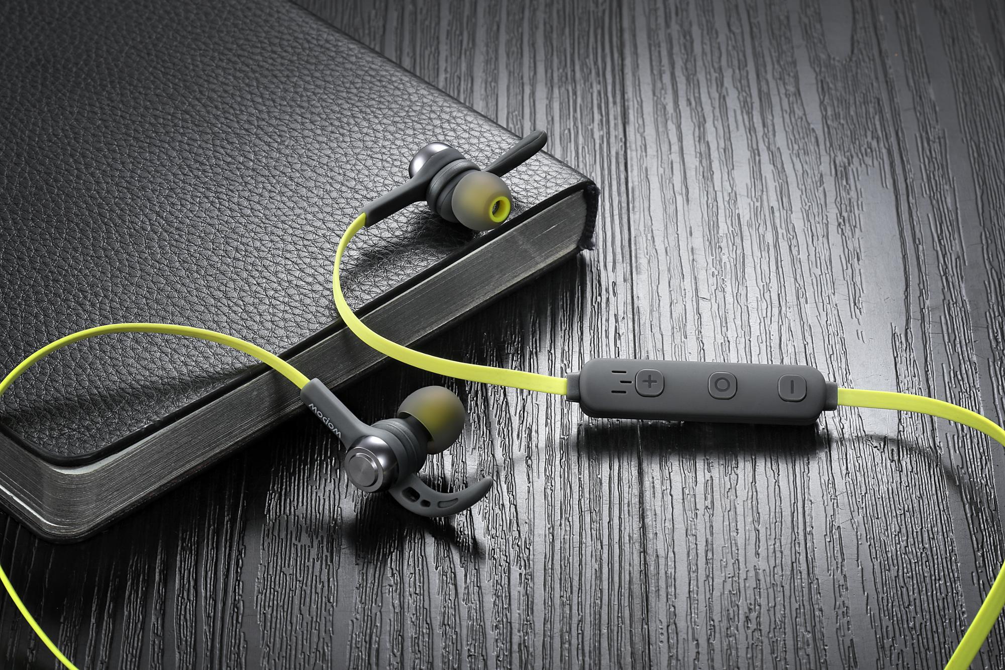 Wopowกีฬาไร้สายหูฟังสเตอริโอพร้อมไมโครโฟนกันน้ำและเสียงยกเลิกV4.2 + EDRวัสดุโลหะในหูหูฟัง